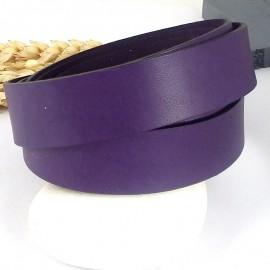 cuir plat 20mm violet haute qualite par 19cm