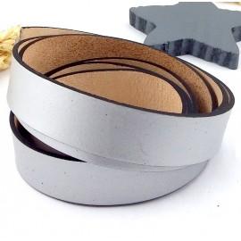 cuir plat 20mm argent haute qualite par 19cm
