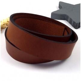 Cuir plat 20mm marron haute qualite par 19cm