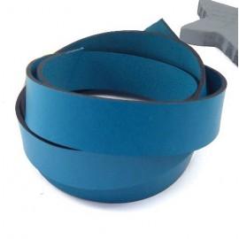 Cuir plat 20mm turquoise haute qualite par 19cm