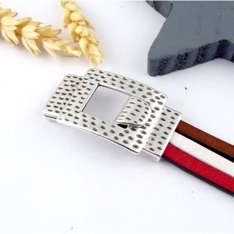 fermoir martele plaque argent crochet pour cuir 15mm