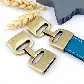 Fermoir clip plat haute qualite bronze pour cuir int 20mm