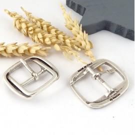 Jolie boucle de ceinture en zamak plaque argent pour cuir 20mm