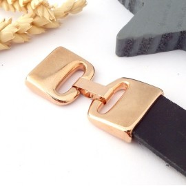 fermoir clip plat haute qualite flashe or rose pour cuir int 20mm