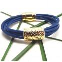 Bracelet cuir bleu vif 5 tours avec perle et fermoir métal zamak flashé or