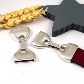 Fermoir clip design haute qualite plaque argent pour cuir int 20mm