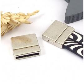 Fermoir magnetique plaque argent vieilli pour cuir plat int 20mm