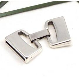 Fermoir clip plat haute qualite metal argente pour cuir int 20mm