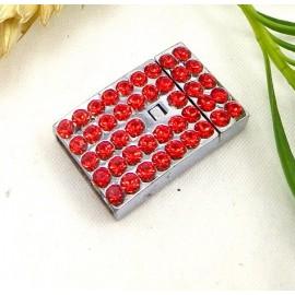 Fermoir plat magnetique metal et strass rouge pour cuir interieur 14mm