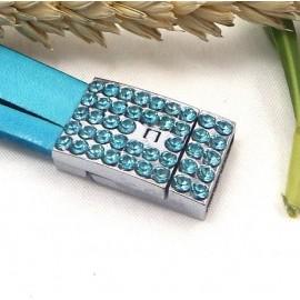Fermoir plat magnetique metal et strass turquoise pour cuir interieur 14mm