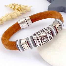 kit bracelet cuir regaliz daim camel et argentl