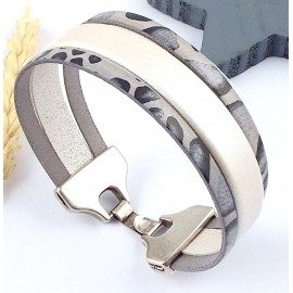 Kit tutoriel bracelet ivoire et sauvage gris fermoir plaque argent