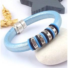 Kit bracelet cuir regaliz bleu ciel metal perle ethnique et fermoir plaque argent