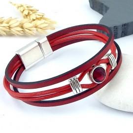 Kit tutoriel bracelet cuir rouge cristal swarovski