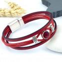 Kit tutoriel bracelet cuir rouge cristal swarovski avec perles et fermoir plaque argent