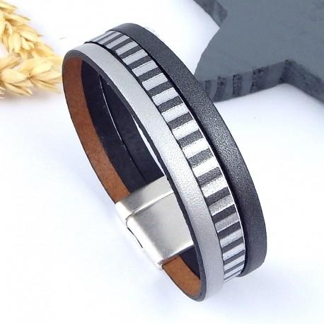 Kit tutoriel bracelet cuir 3 argents fermoir ultra plat plaque argent