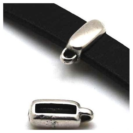 Passe cuir bélière avec anneau argent cuir 10mm