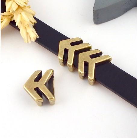 passe cuir fleche double zamak bronze cuir 10mm