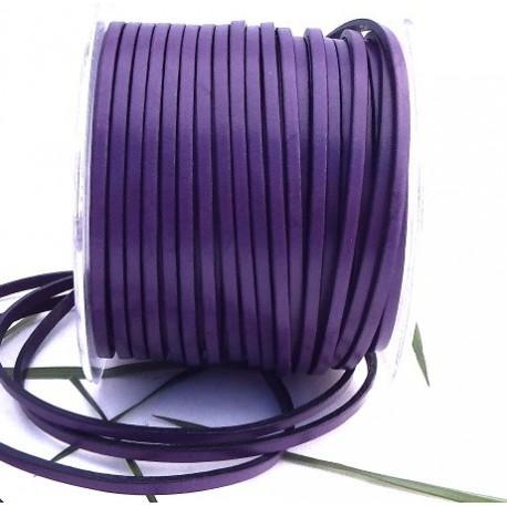 Cordon cuir plat 3mm violet par 20 cm