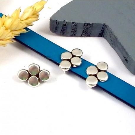 passe cuir geometrique cercles plaque argent cuir 10mm