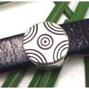 passe cuir rond demi cercles zamak plaque argent pour cuir 10mm
