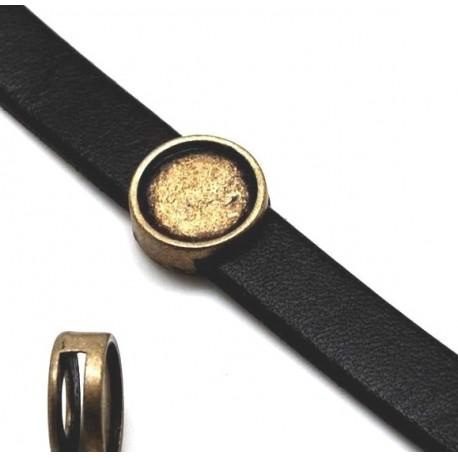 passe cuir rond support cabochon 12mm bronze pour cuir plat 10mm