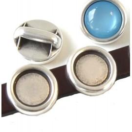 Passe cuir rond plaque argent support cabochon 12mm pour cuir plat 10mm