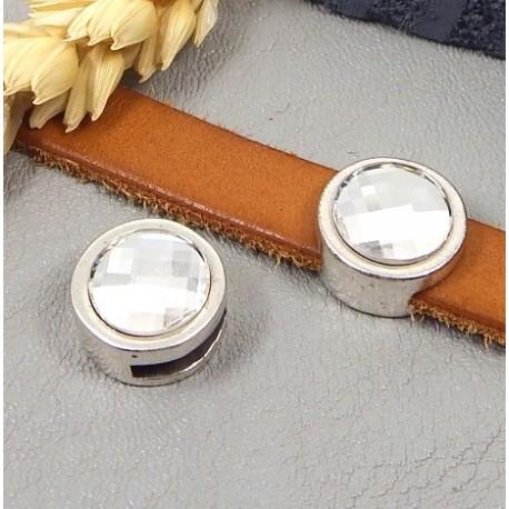 passe cuir rond plaque argent avec cristal swarvoski pour cuir plat 10mm