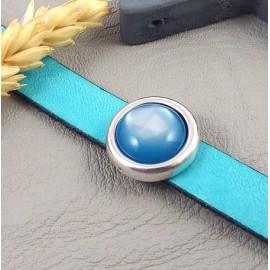 Passe cuir rond plaque argent avec cabochon polaris bleu outremer