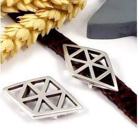 Passe cuir losange boho triangles plaque argent pour cuir plat 10mm