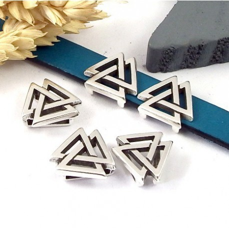 passe cuir geometrique boho triangles argent cuir 10mm