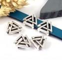 passe cuir geometrique boho triangles plaque argent pour cuir plat 10mm