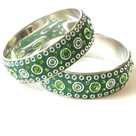 bracelet artisanal zamak argent et cristal swarovski peridot