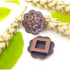 Passe cuir grande fleur 25mm cuivre pour cuir interieur 13mm