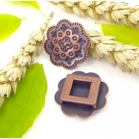 passe cuir grande fleur cuivre pour cuir interieur 13mm
