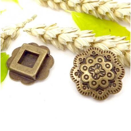 passe cuir grande fleur 25mm bronze pour cuir interieur 13mm