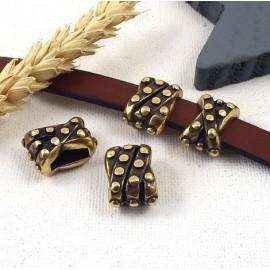 Passe cuir croise poincons finition bronze pour cuir 10mm
