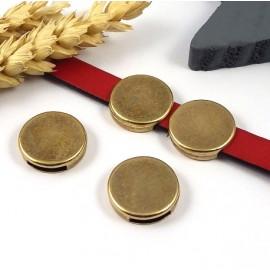 passe cuir cercle bronze 18mm lisse pour cuir plat 10mm