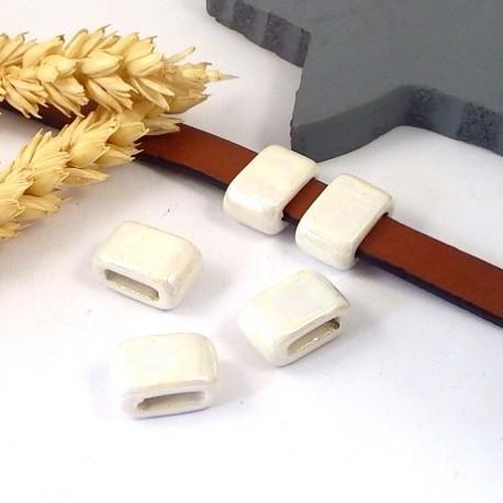 passe cuir ceramique artisanale ivoire pour cuir plat 10mm