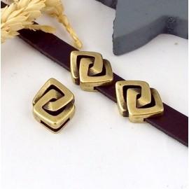 Passe cuir carres meles grec zamak bronze pour cuir 10mm
