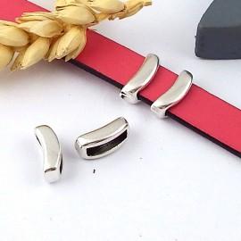 2 passe cuir croissant plaque argent pour cuir plat 10mm