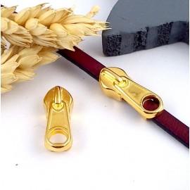 passe cuir zip fermeture eclair zamak flashe or pour cuir plat 5mm