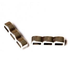 passe cuir trois trous argente pour cuir plat 5mm