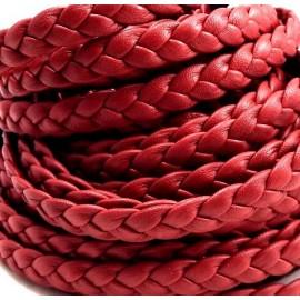cuir plat tresse' rouge fonce