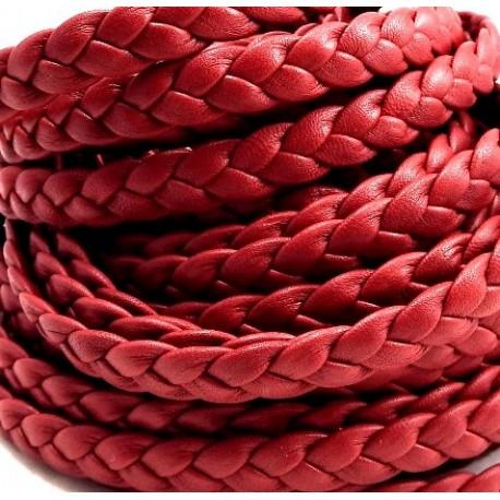 cuir plat tresse' rouge fonce par 20 cm.
