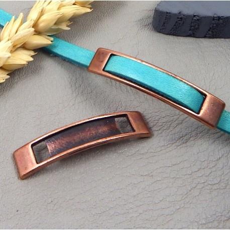 passe cuir rectangle original cuivre vieilli pour cuir 5mm
