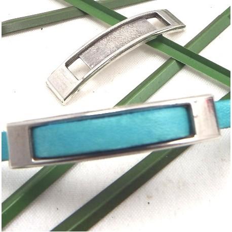 passe cuir rectangle long metal argente pour cuir 5mm