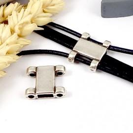passe cuir plaque argent rectangle pour cuir plat 5 et 6mm et cuir rond 2mm