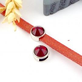 passe cuir plaque argent et swarovski rouge siam pour cuir plat 5mm