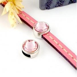 passe cuir plaque argent et swarovski light rose pour cuir plat 5mm